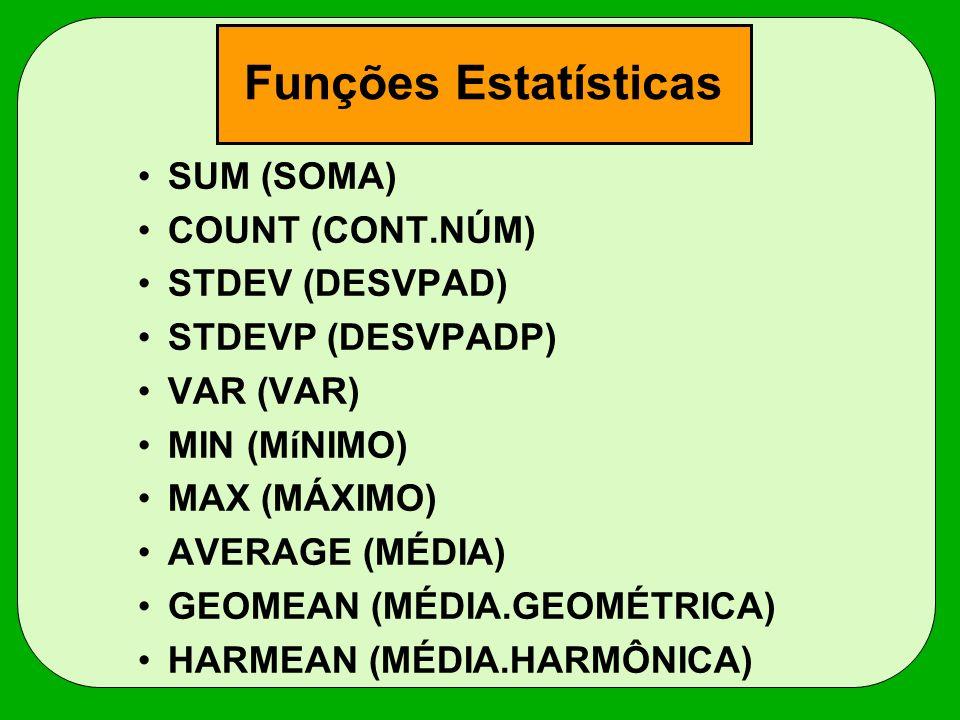 Funções Estatísticas SUM (SOMA) COUNT (CONT.NÚM) STDEV (DESVPAD)