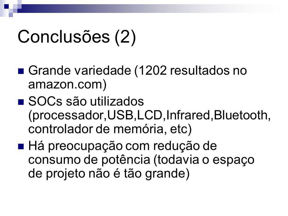 Conclusões (2) Grande variedade (1202 resultados no amazon.com)