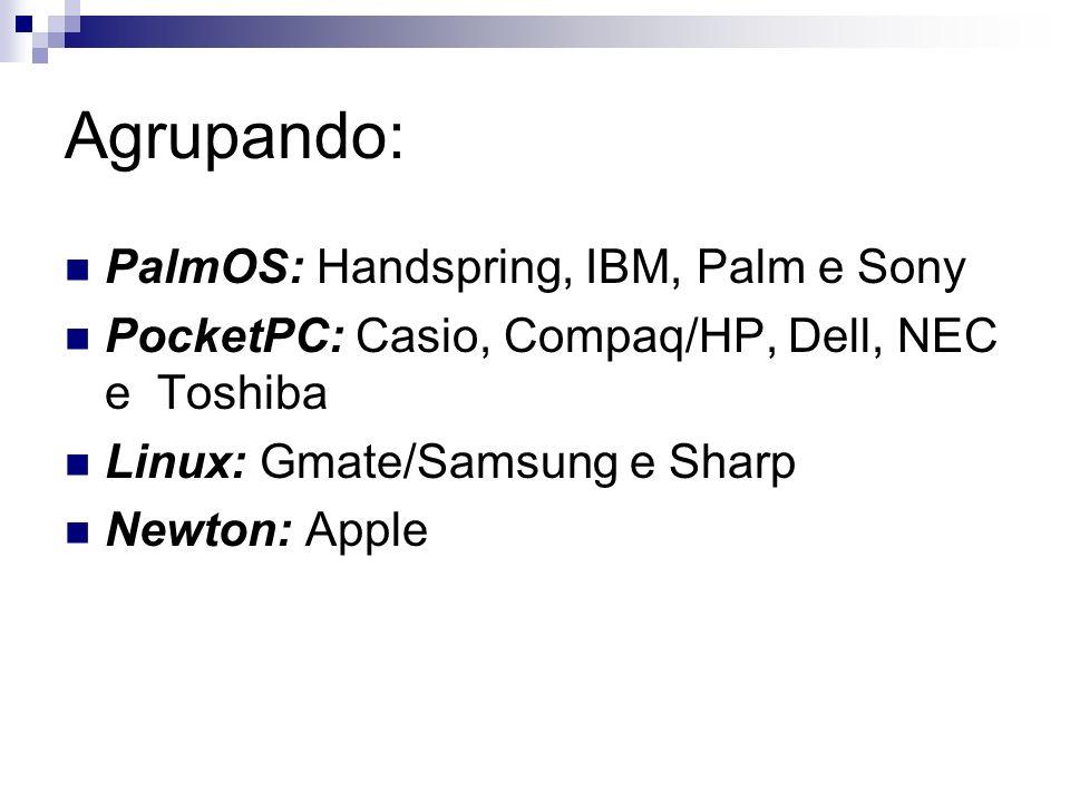 Agrupando: PalmOS: Handspring, IBM, Palm e Sony