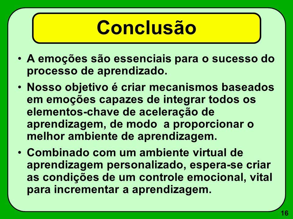 Conclusão A emoções são essenciais para o sucesso do processo de aprendizado.