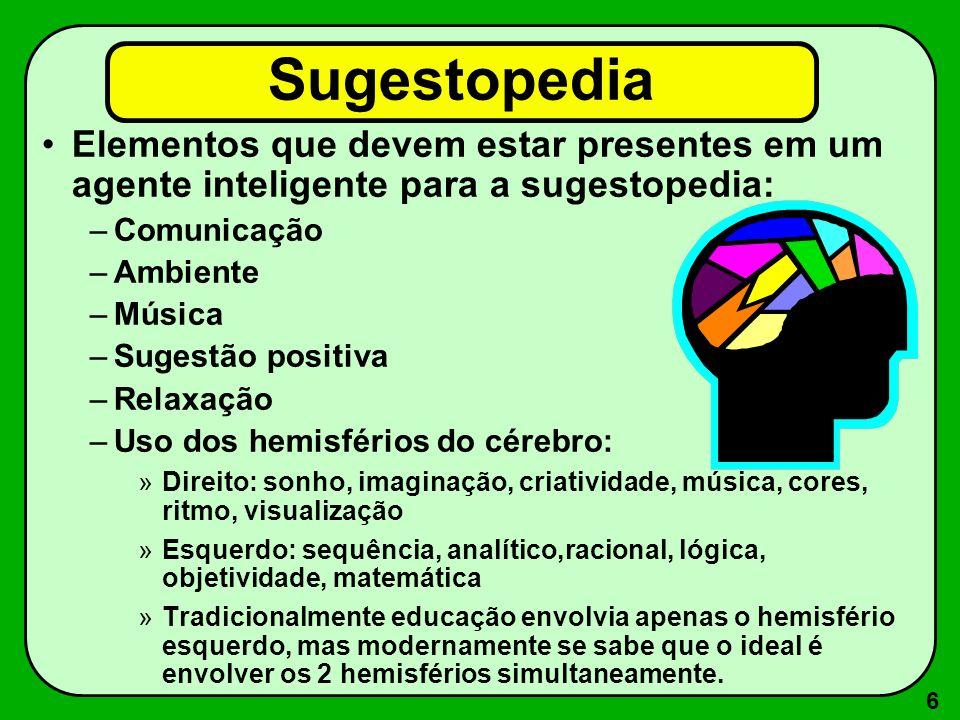 Sugestopedia Elementos que devem estar presentes em um agente inteligente para a sugestopedia: Comunicação.