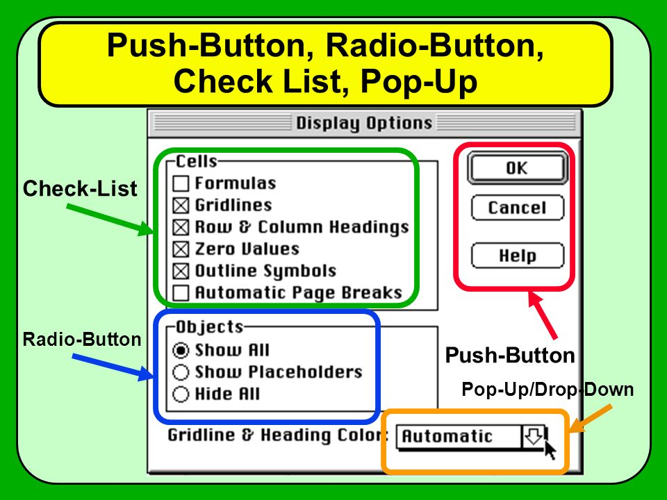 Push-Button, Radio-Button, Check List, Pop-Up
