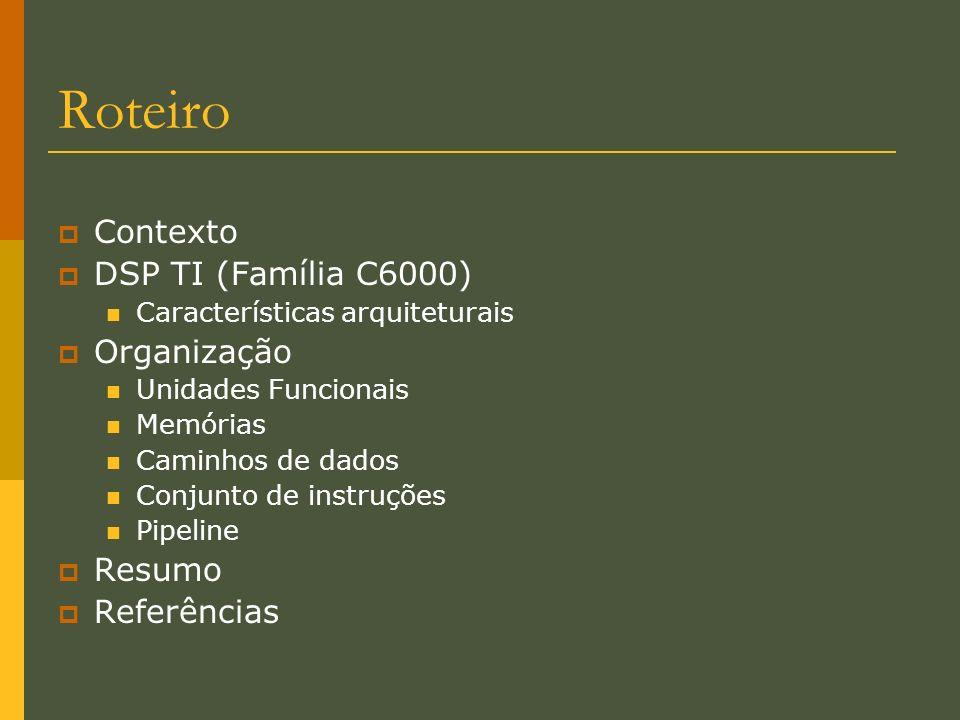 Roteiro Contexto DSP TI (Família C6000) Organização Resumo Referências