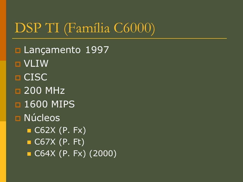 DSP TI (Família C6000) Lançamento 1997 VLIW CISC 200 MHz 1600 MIPS