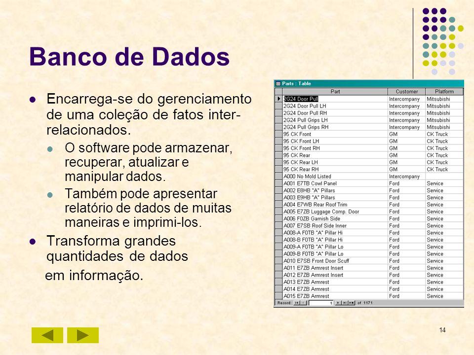 Banco de DadosEncarrega-se do gerenciamento de uma coleção de fatos inter-relacionados.