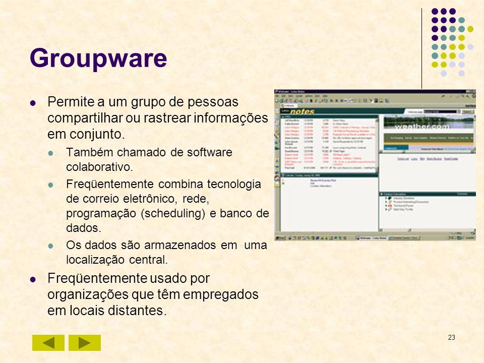 GroupwarePermite a um grupo de pessoas compartilhar ou rastrear informações em conjunto. Também chamado de software colaborativo.