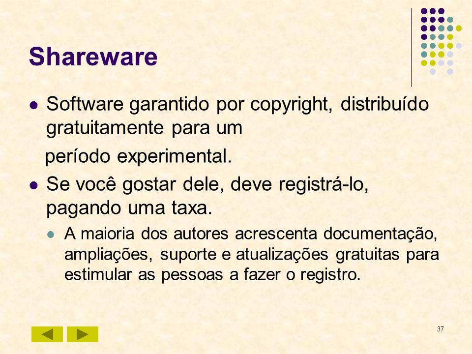 Shareware Software garantido por copyright, distribuído gratuitamente para um. período experimental.