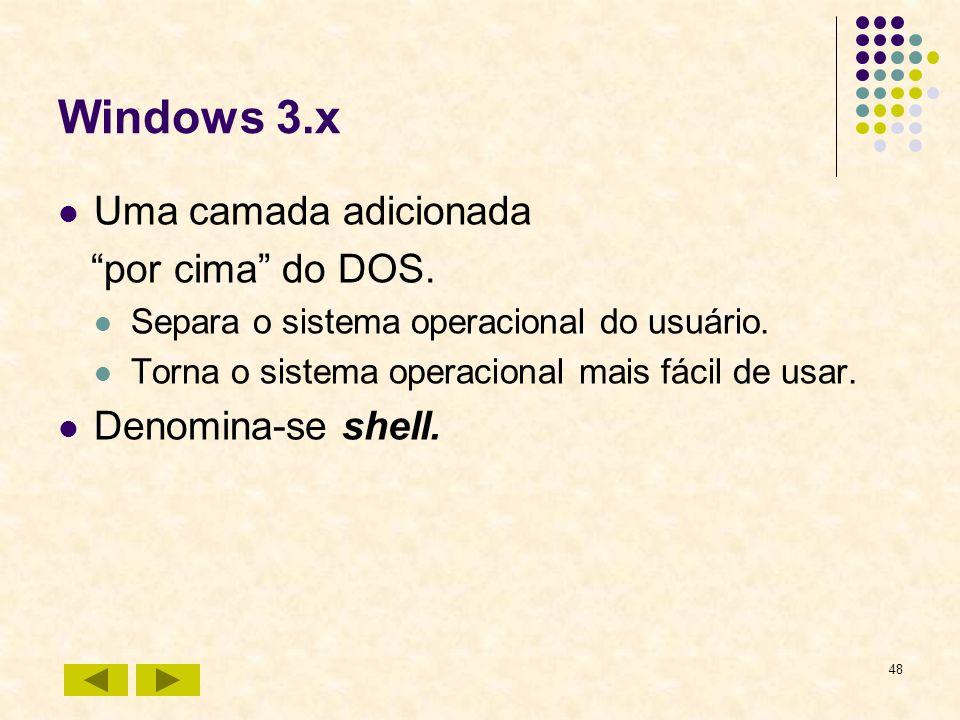 Windows 3.x Uma camada adicionada por cima do DOS.