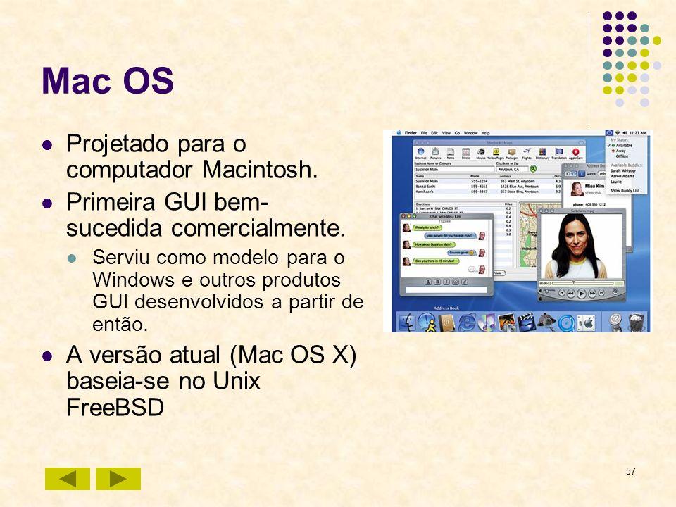 Mac OS Projetado para o computador Macintosh.