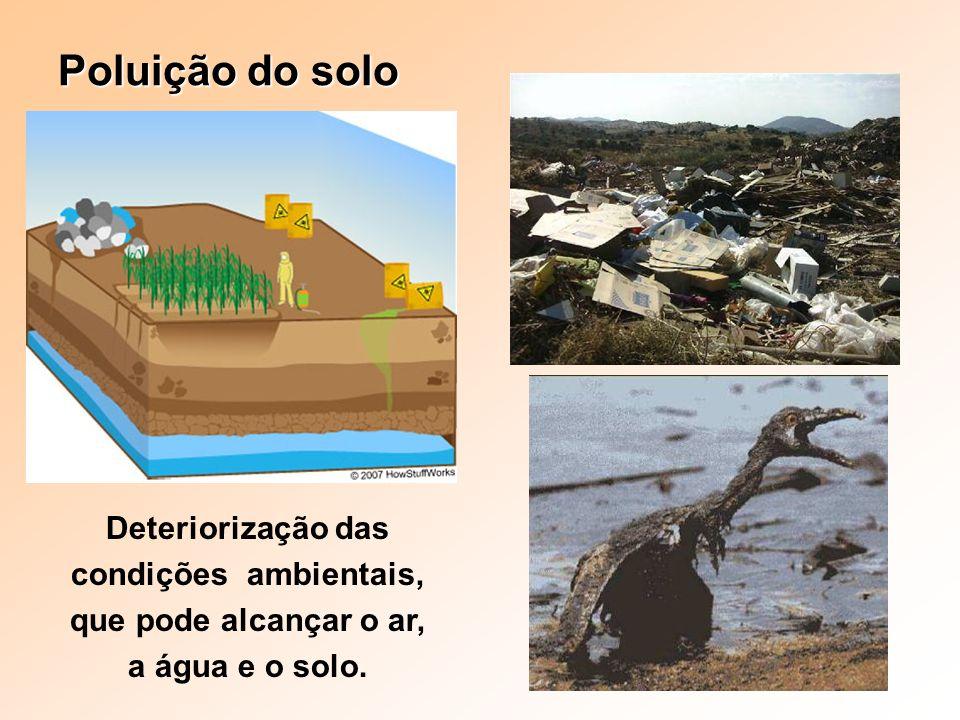 Poluição do solo Deteriorização das condições ambientais, que pode alcançar o ar, a água e o solo.