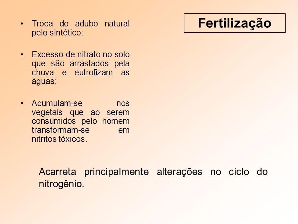 Fertilização Troca do adubo natural pelo sintético: Excesso de nitrato no solo que são arrastados pela chuva e eutrofizam as águas;