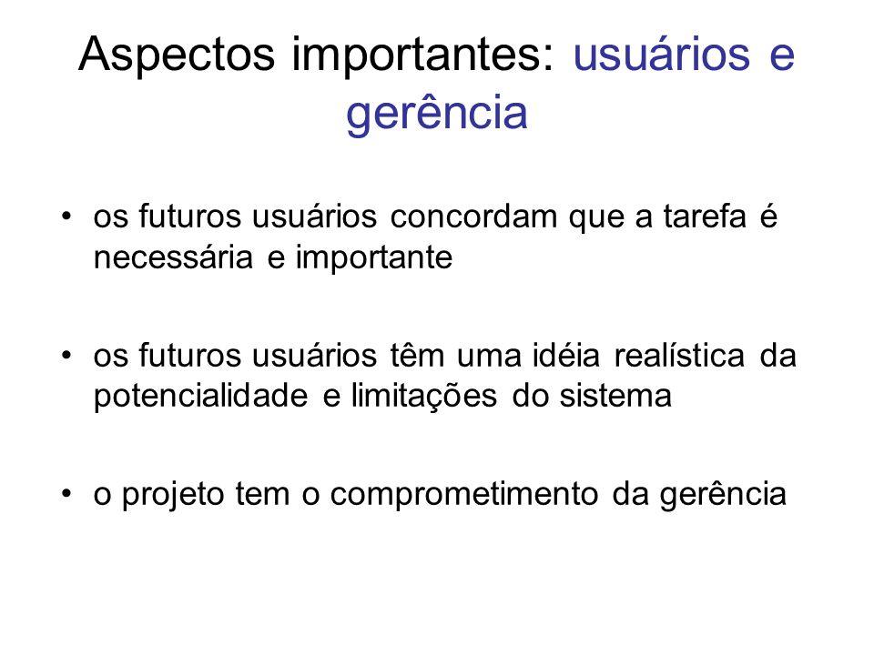 Aspectos importantes: usuários e gerência