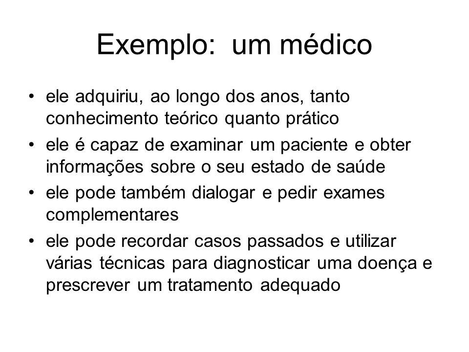 Exemplo: um médico ele adquiriu, ao longo dos anos, tanto conhecimento teórico quanto prático.