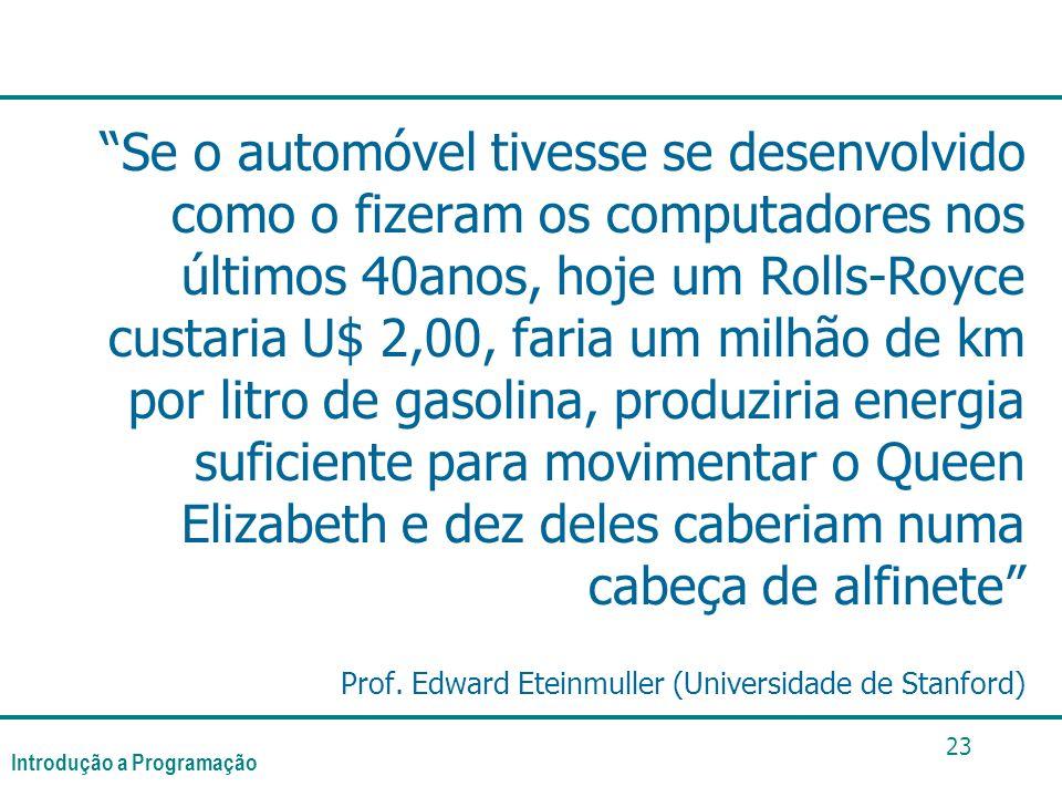 Se o automóvel tivesse se desenvolvido como o fizeram os computadores nos últimos 40anos, hoje um Rolls-Royce custaria U$ 2,00, faria um milhão de km por litro de gasolina, produziria energia suficiente para movimentar o Queen Elizabeth e dez deles caberiam numa cabeça de alfinete