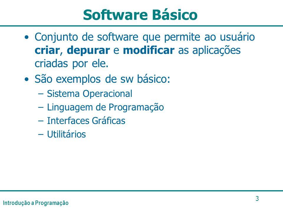Software Básico Conjunto de software que permite ao usuário criar, depurar e modificar as aplicações criadas por ele.