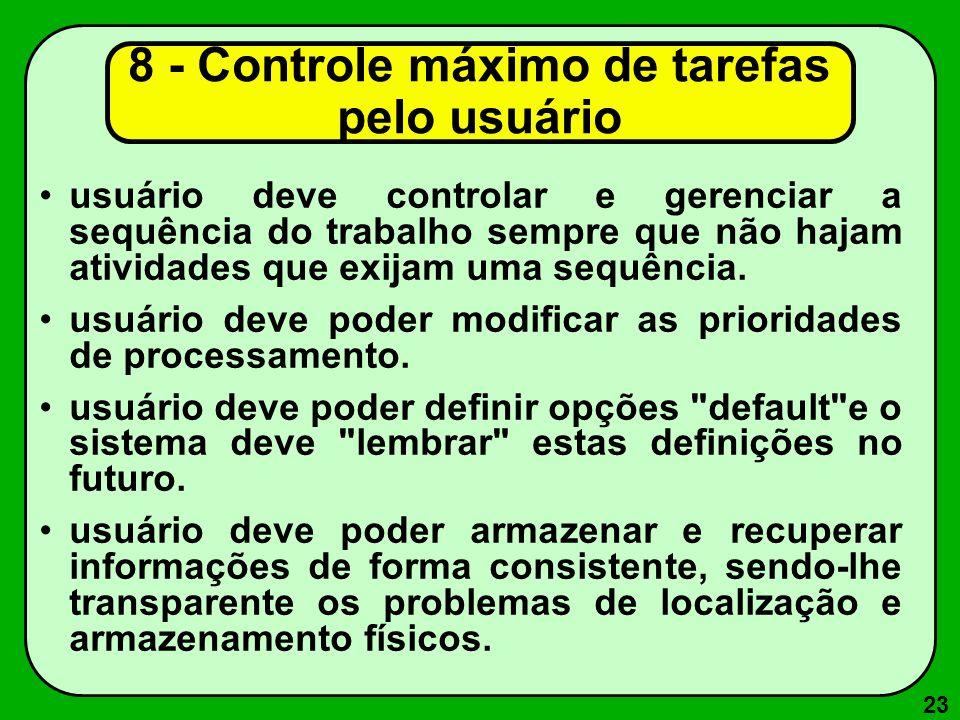 8 - Controle máximo de tarefas pelo usuário