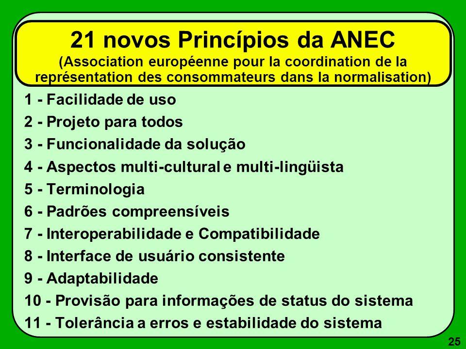 21 novos Princípios da ANEC (Association européenne pour la coordination de la représentation des consommateurs dans la normalisation)