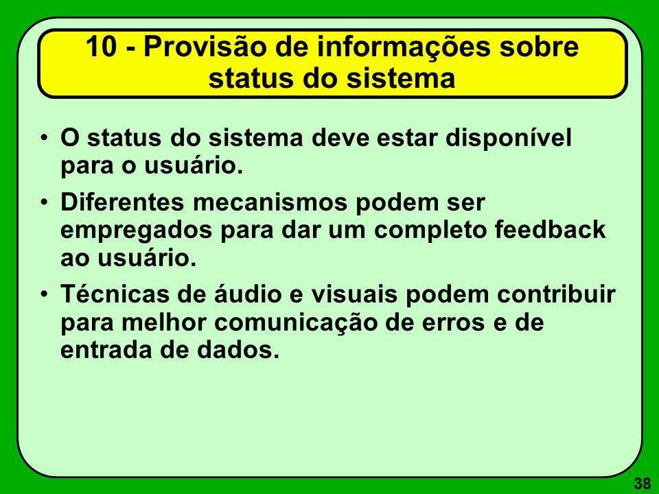 10 - Provisão de informações sobre status do sistema