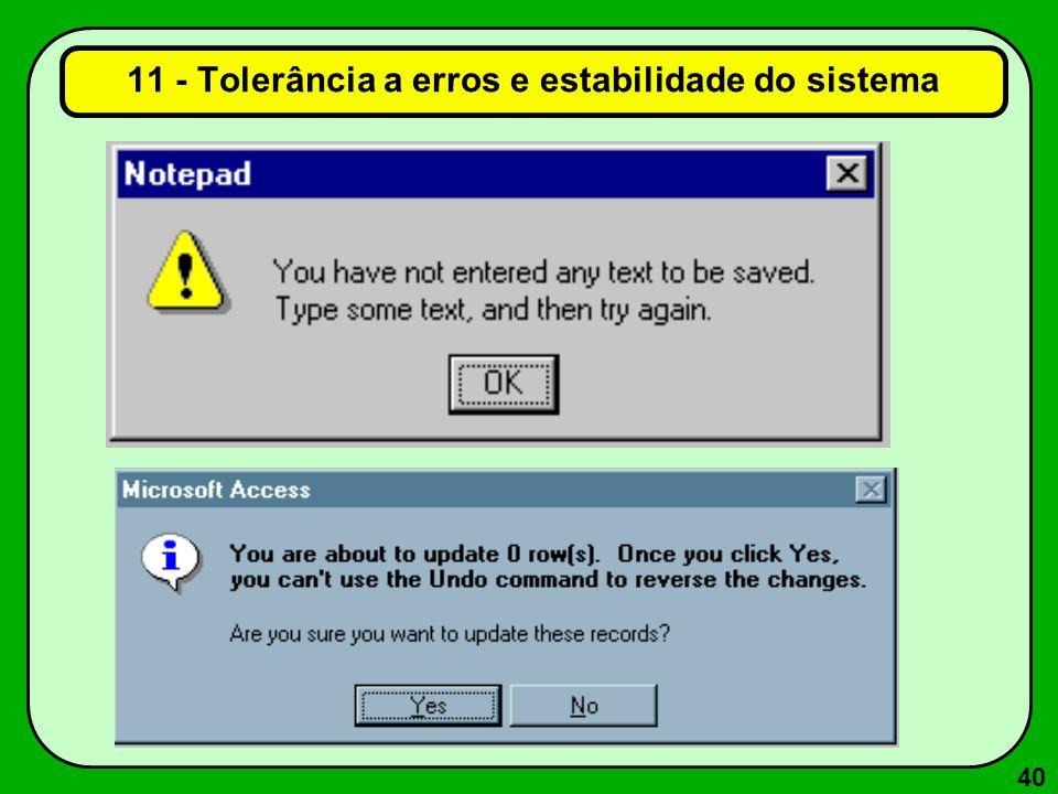 11 - Tolerância a erros e estabilidade do sistema
