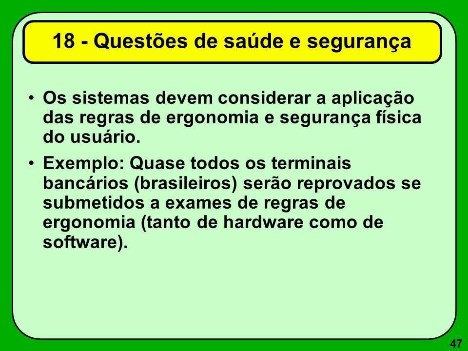 18 - Questões de saúde e segurança