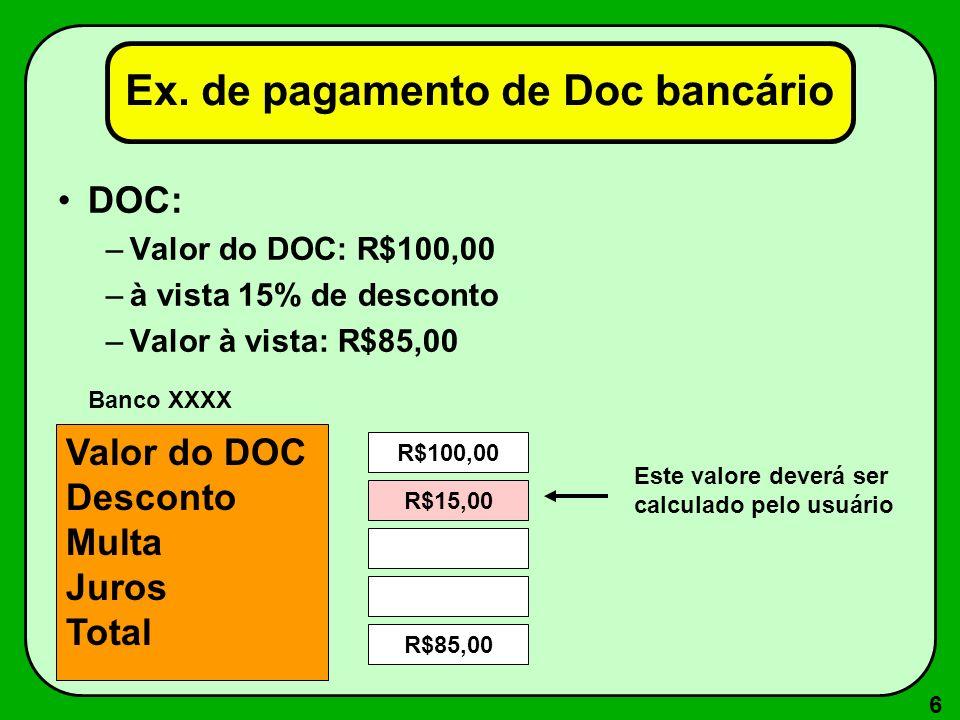 Ex. de pagamento de Doc bancário