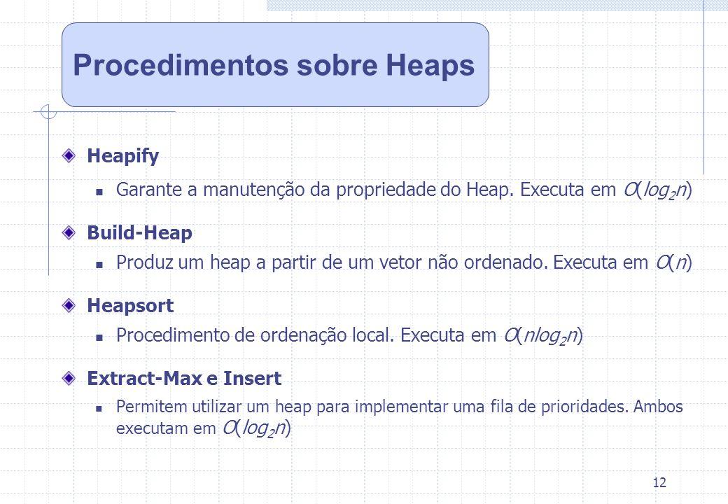 Procedimentos sobre Heaps