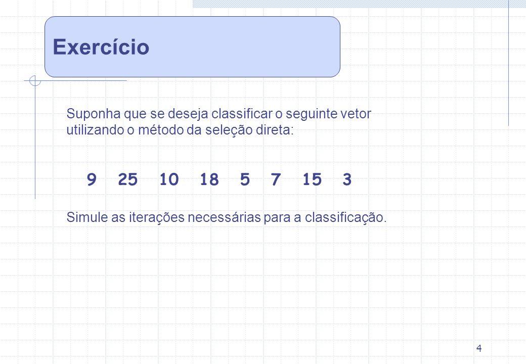 Exercício Suponha que se deseja classificar o seguinte vetor. utilizando o método da seleção direta: