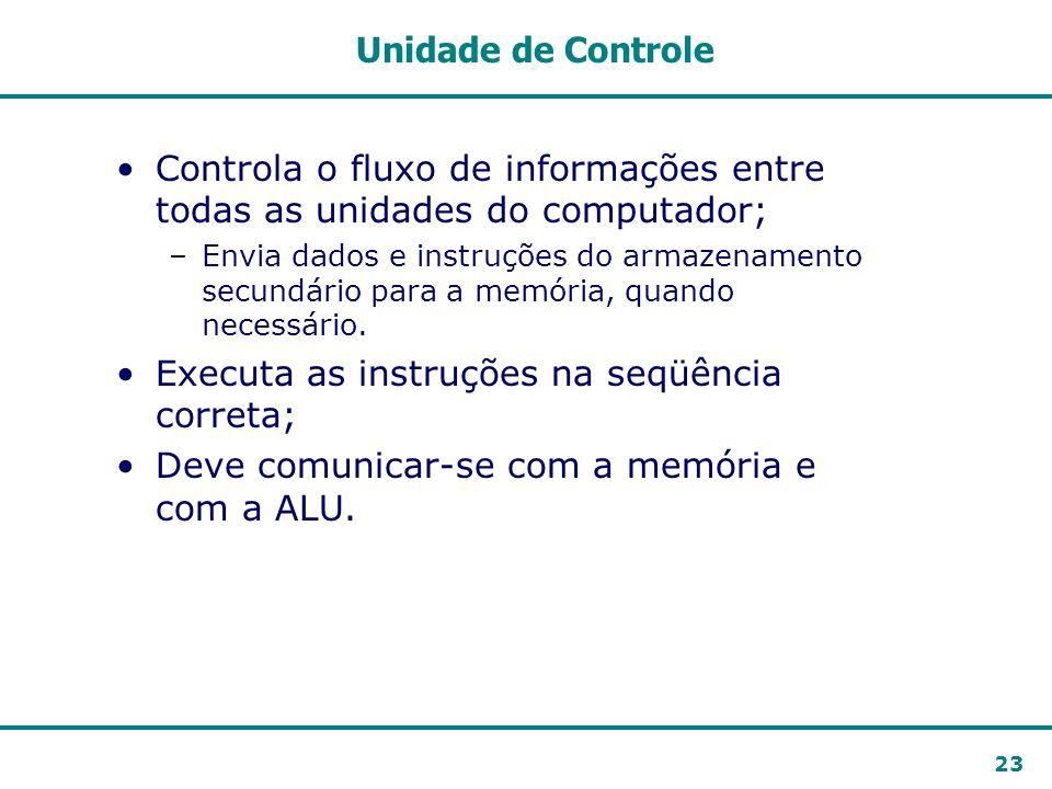 Controla o fluxo de informações entre todas as unidades do computador;