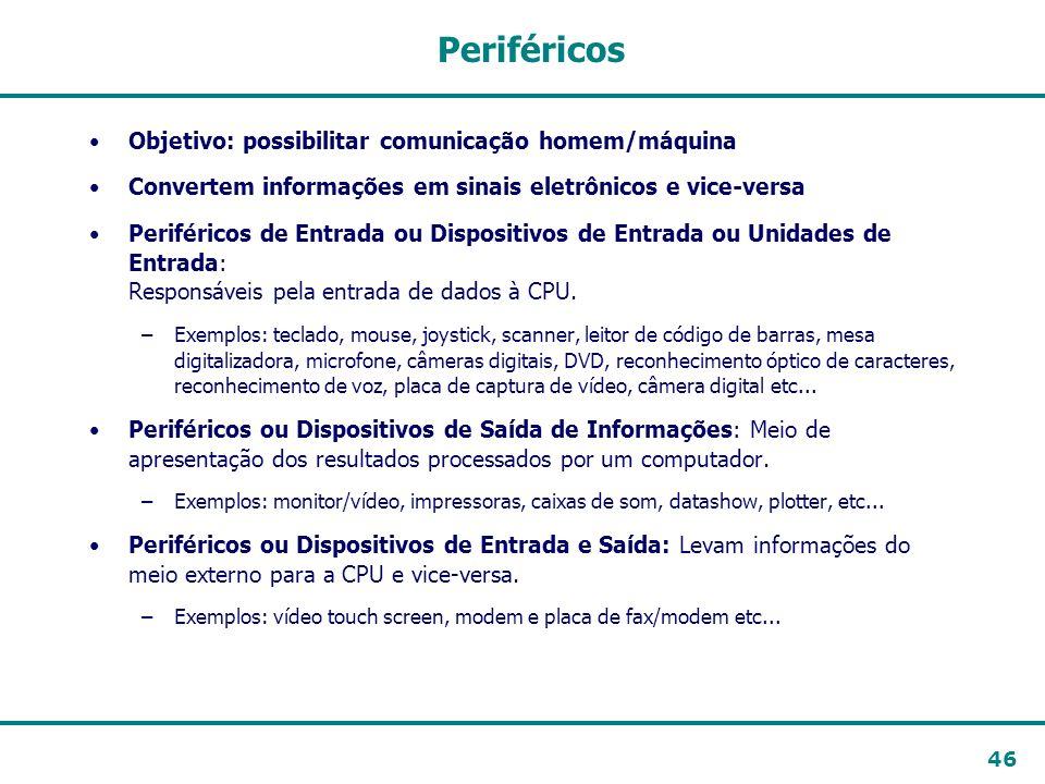 Periféricos Objetivo: possibilitar comunicação homem/máquina