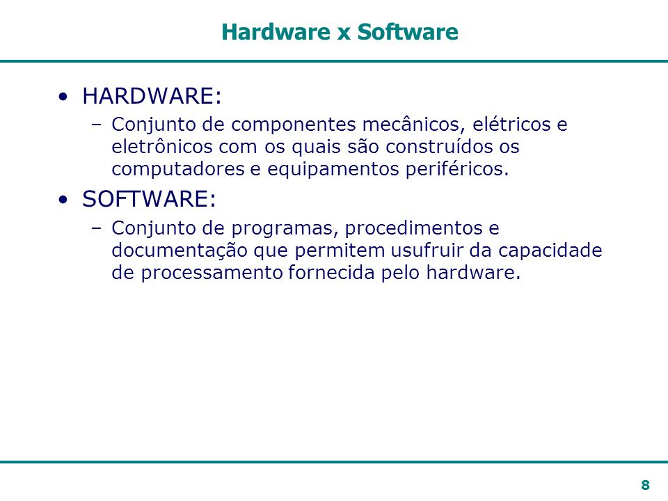 Hardware x Software HARDWARE: SOFTWARE: