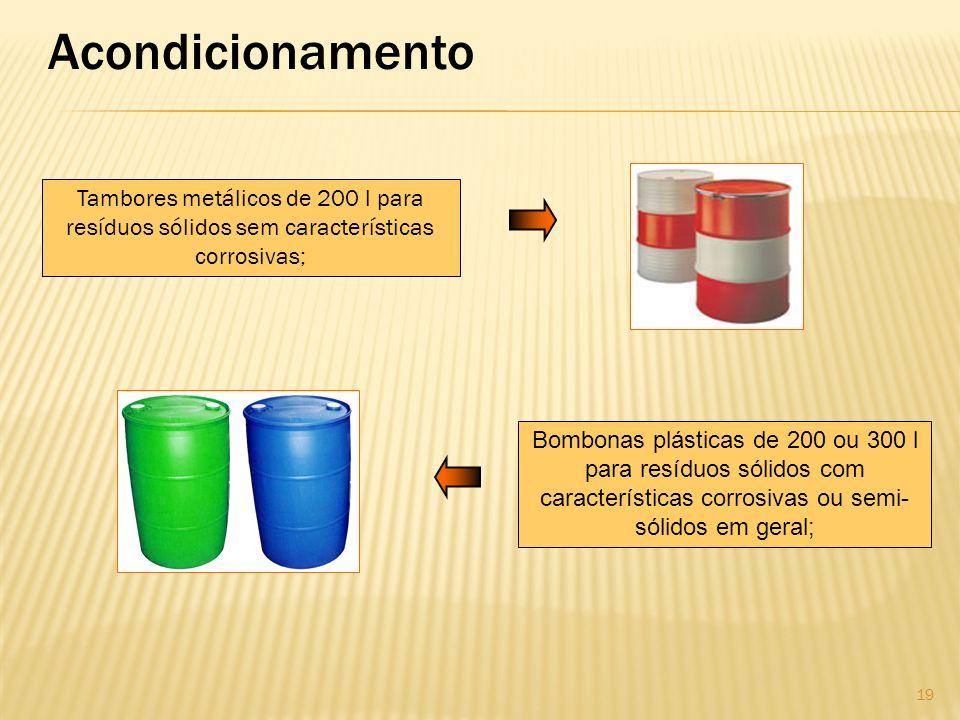 Acondicionamento Tambores metálicos de 200 l para resíduos sólidos sem características corrosivas;