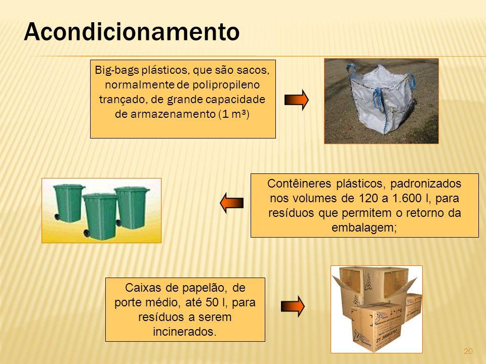 Acondicionamento Big-bags plásticos, que são sacos, normalmente de polipropileno trançado, de grande capacidade de armazenamento (1 m³)
