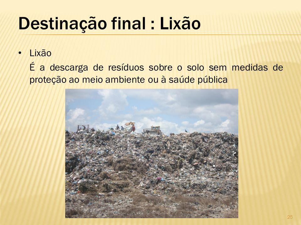 Destinação final : Lixão
