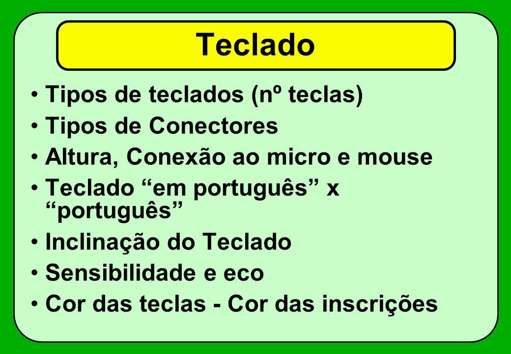 Teclado Tipos de teclados (nº teclas) Tipos de Conectores