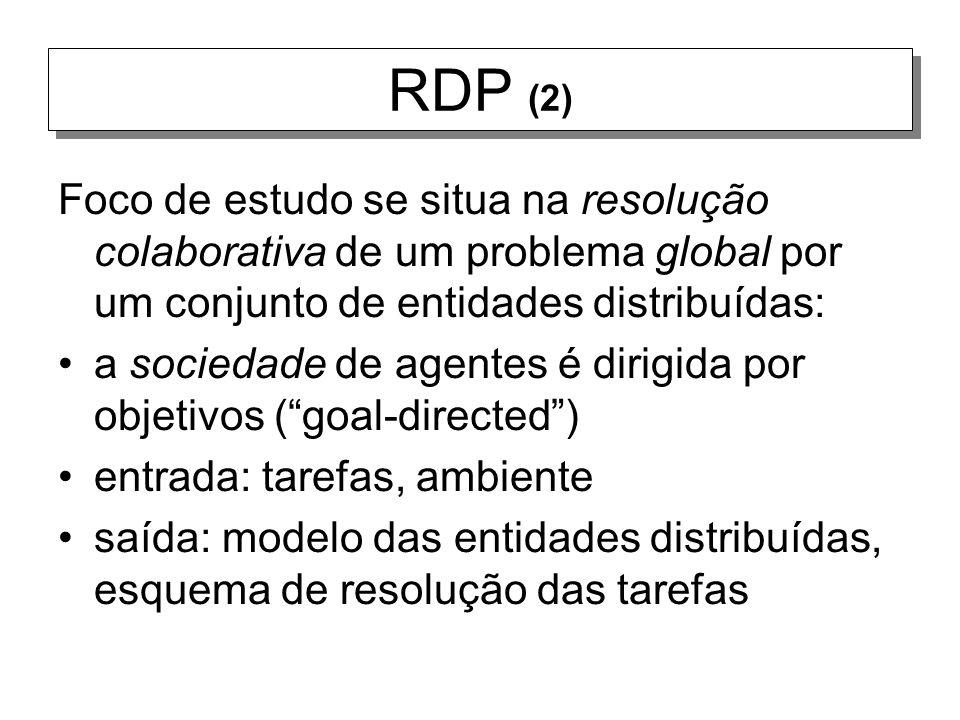RDP (2) Foco de estudo se situa na resolução colaborativa de um problema global por um conjunto de entidades distribuídas: