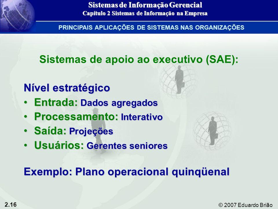 Sistemas de apoio ao executivo (SAE):