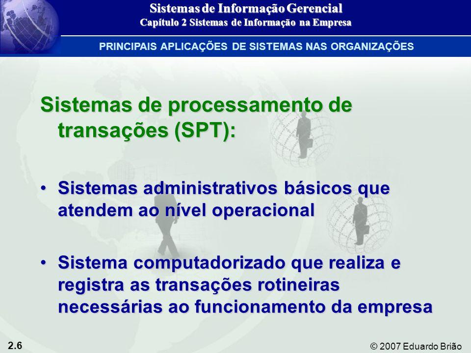Sistemas de processamento de transações (SPT):