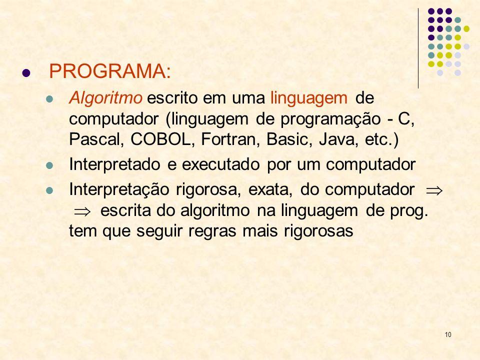 PROGRAMA: Algoritmo escrito em uma linguagem de computador (linguagem de programação - C, Pascal, COBOL, Fortran, Basic, Java, etc.)