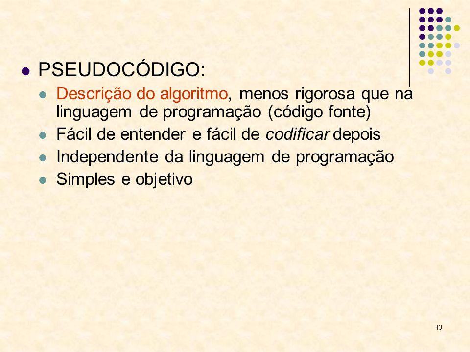 PSEUDOCÓDIGO:Descrição do algoritmo, menos rigorosa que na linguagem de programação (código fonte) Fácil de entender e fácil de codificar depois.