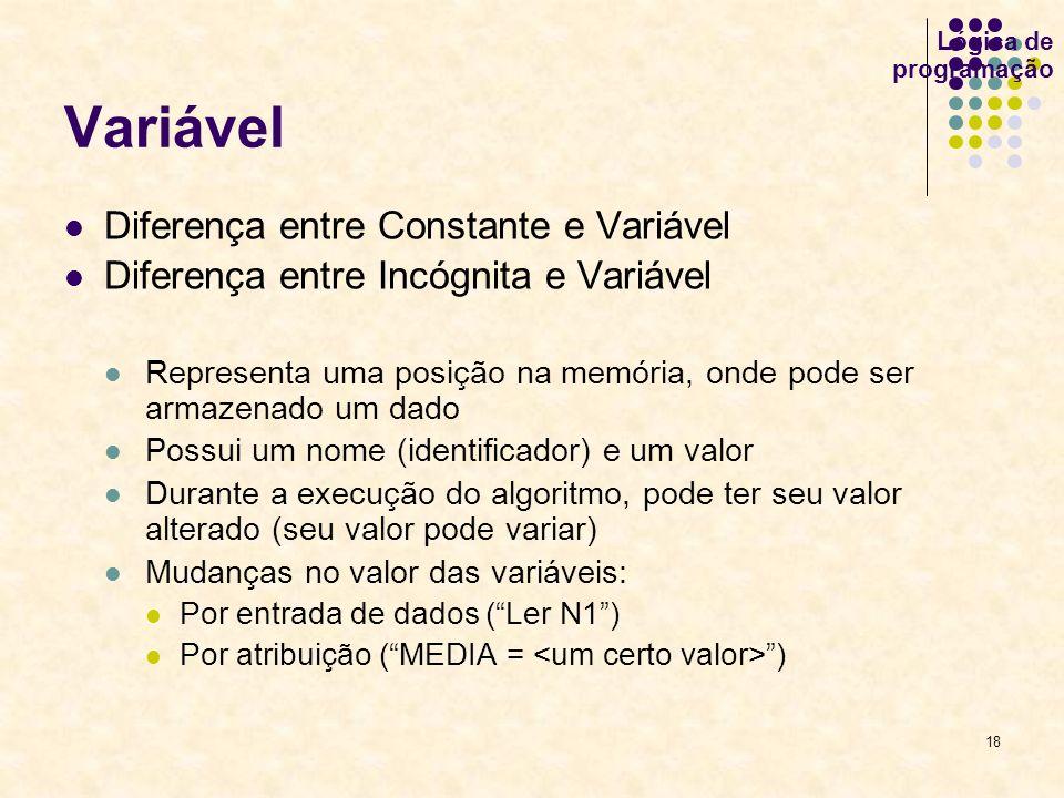 Variável Diferença entre Constante e Variável