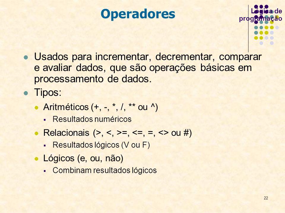 Lógica de programação Operadores.