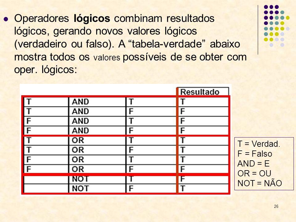 Operadores lógicos combinam resultados lógicos, gerando novos valores lógicos (verdadeiro ou falso). A tabela-verdade abaixo mostra todos os valores possíveis de se obter com oper. lógicos: