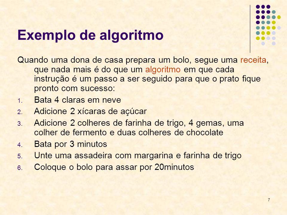 Exemplo de algoritmo