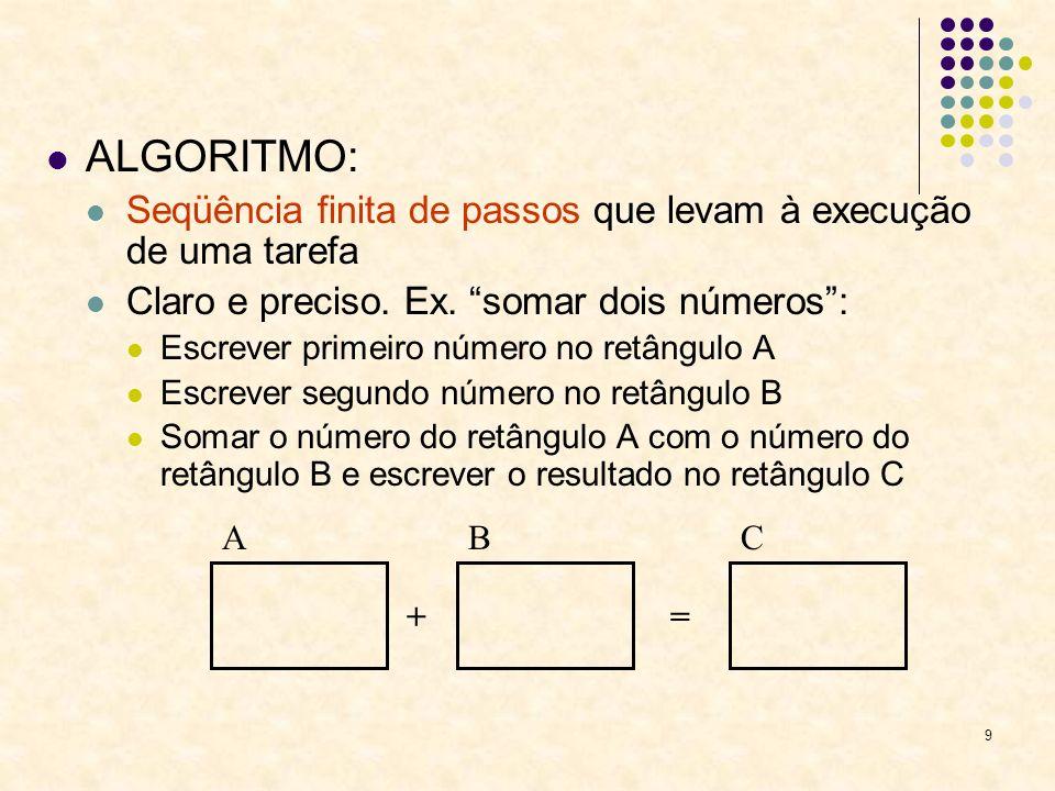 ALGORITMO: Seqüência finita de passos que levam à execução de uma tarefa. Claro e preciso. Ex. somar dois números :