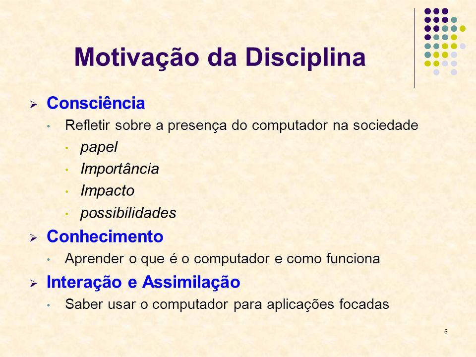 Motivação da Disciplina