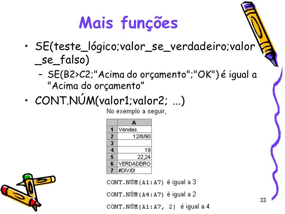 Mais funções SE(teste_lógico;valor_se_verdadeiro;valor_se_falso)