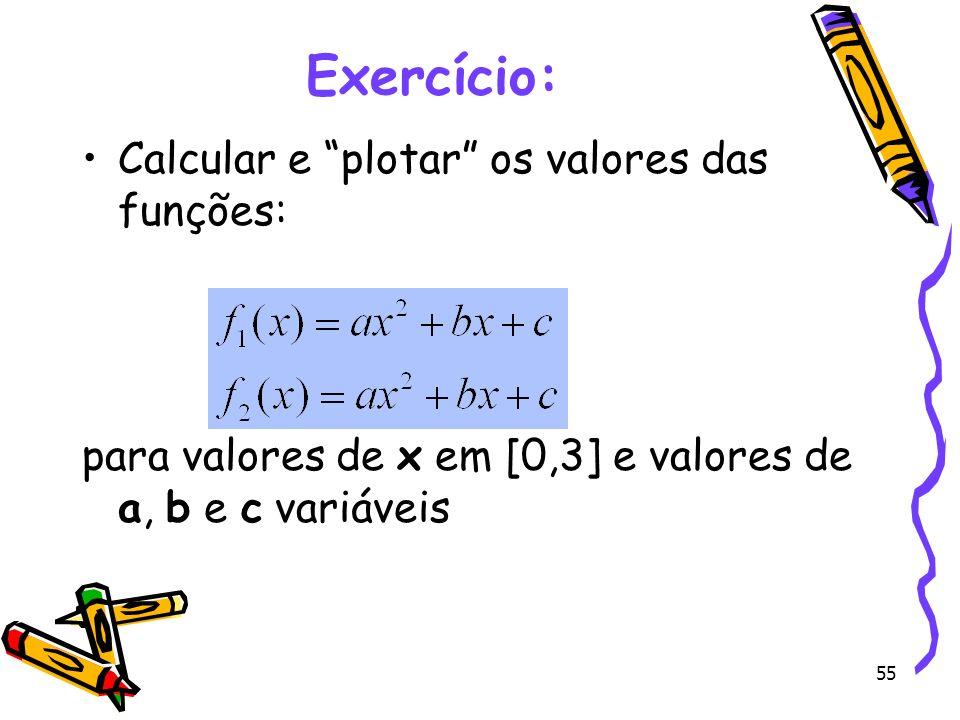Exercício: Calcular e plotar os valores das funções: