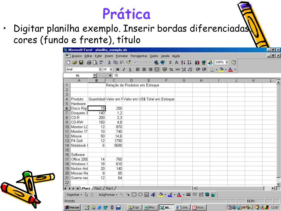 Prática Digitar planilha exemplo. Inserir bordas diferenciadas, cores (fundo e frente), título