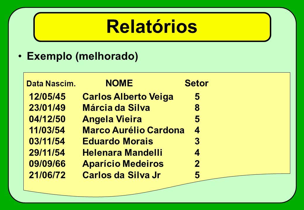 Relatórios Exemplo (melhorado) 12/05/45 Carlos Alberto Veiga 5