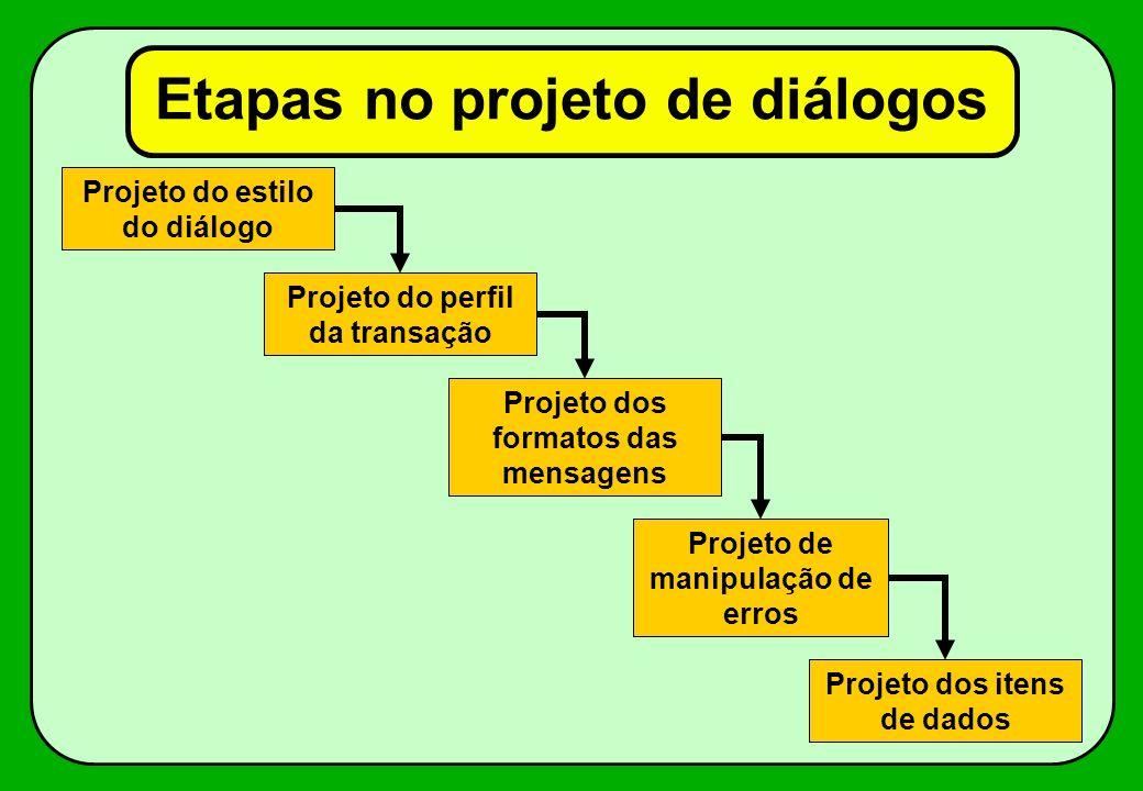 Etapas no projeto de diálogos